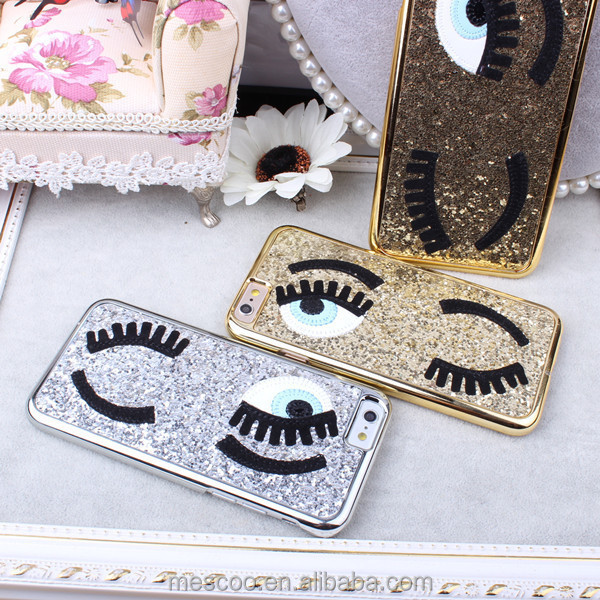 Fashional 3D Cute Style Sequins Following Flirting Eyes Phone Cases for iPhone 5 5S 6 6S 4.7 Plus 5.5
