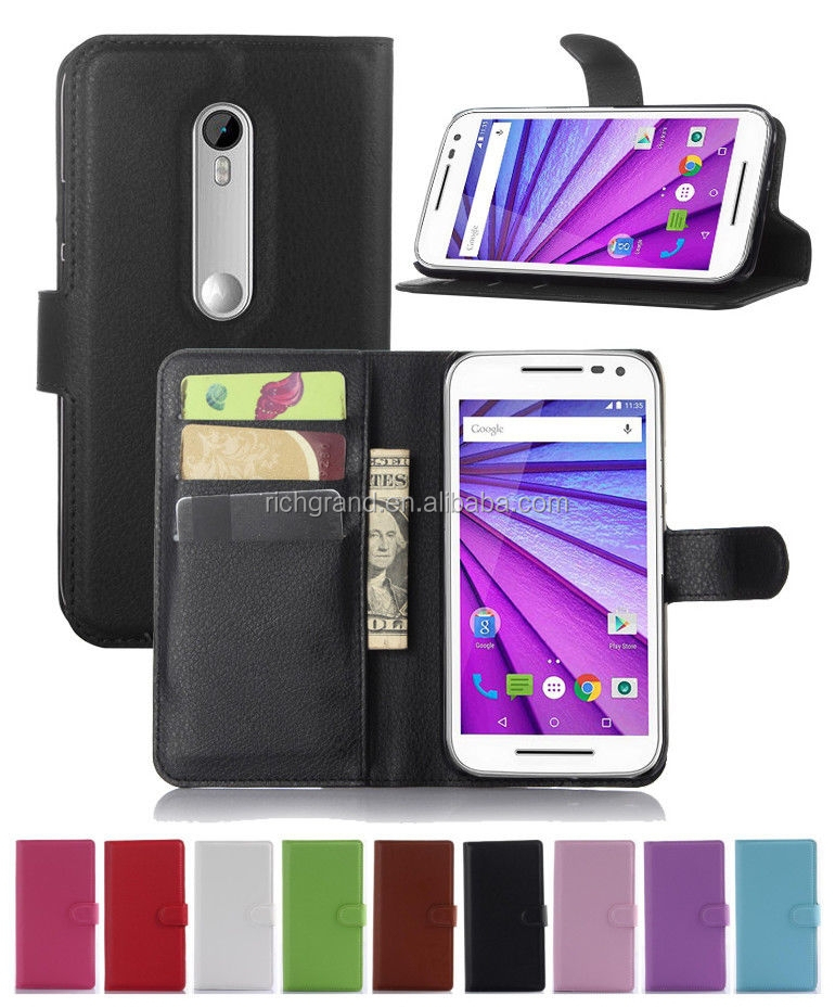 Hot sale leather case cover flip wallet stand pouch for Motorola Moto G 3rd Gen