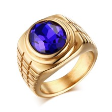 Wholesale fashion Vintage stainless steel ring jewelry royal blue gemstone ring for men