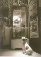 classic black and whithe pictures of a dog in font of mirror canvas wall art for decoration