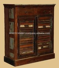 reclaimed wooden shuter panel cabinet