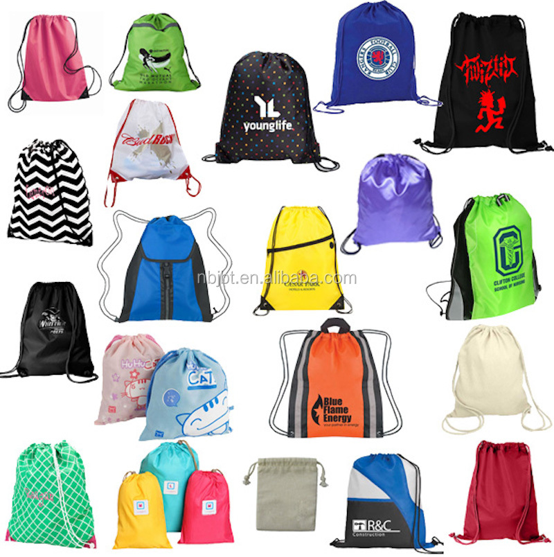 Cheap Custom Wholesale Promotion Canvas Cotton Drawstring Bag, Waterproof Mini Nylon Polyester Drawstring Bag