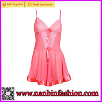 Pink See-through strapes women lingerie