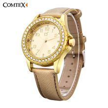 Comtex Business Casual Lady's Watch Dial Diamond Fashion Gold Leather Strap Quartz Wrist Watch for Women