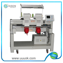 High speed chenille embroidery machine with two heads