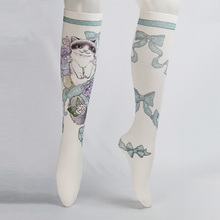 Hot sale fashion printing animal over the knee young girls tube sexy nylon stockings
