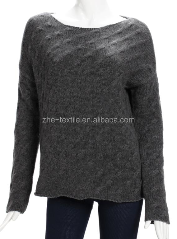 100% cashmere pullover sweater ladies cable knitting