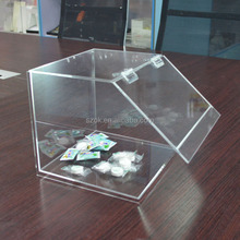 custom clear plexiglass food container / acrylic bread box with lid