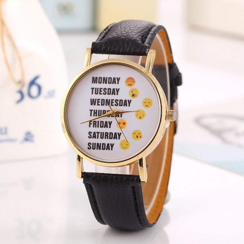 exclusive style fashion leather watch silver case one week emoji wrap quartz casual watch for unisex LLW024