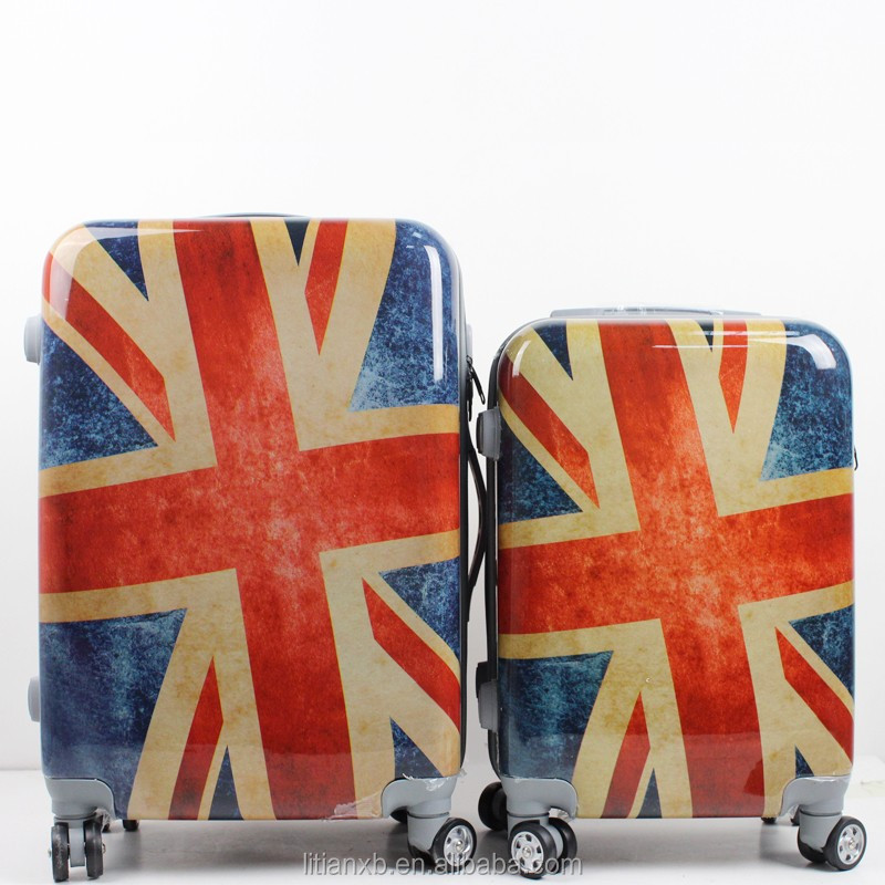 3 piece trolley abs / pc printed British flag hard shell travel time luggage set