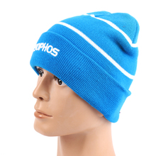 Blue 3D Embroidered Custom Logo Knitted Beanie Hat For Winter