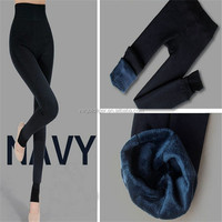 Women's Winter Thick Warm Fleece Lined Thermal Stretchy navy color legging Pants