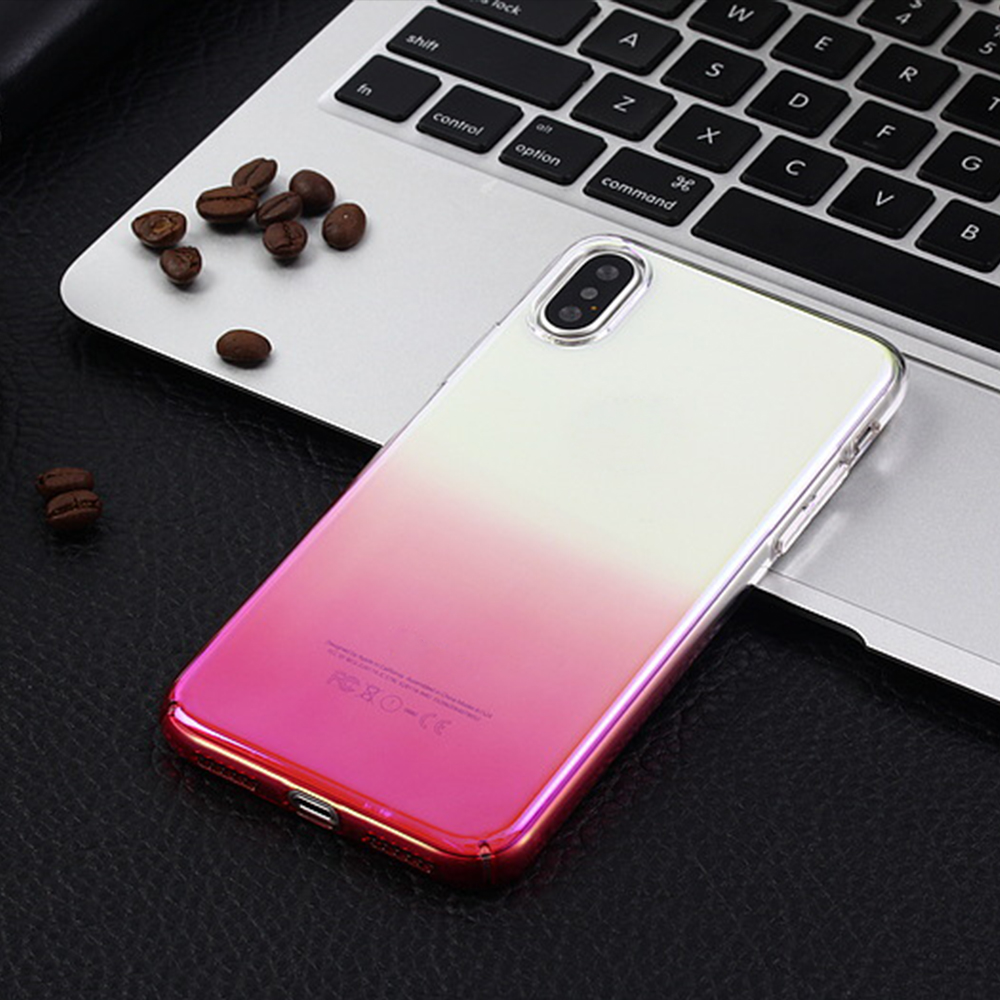 2018 new arrived aurora clear PC mobile phone slim back cover case for iPhone 7 pc polar electroplate cover