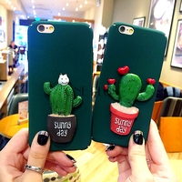 Hot sale 2017 unique stereoscopic pattern cactus design TPU mobile phone case for Iphone6 6s