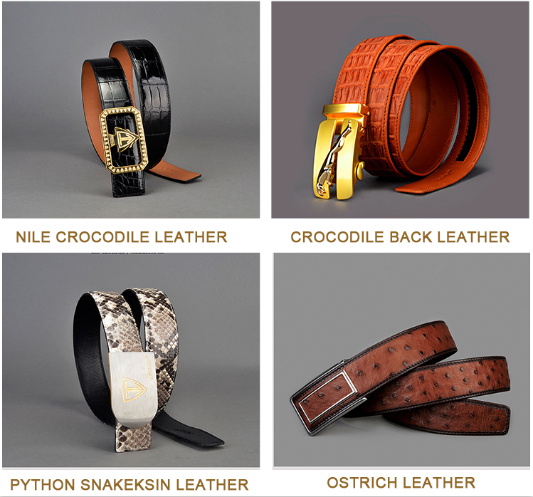 High end luxury automatic buckles crocodile leather belts for men