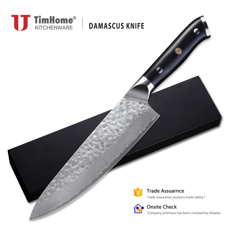 "damascus steel knife 8"" professional chef's knife <strong>G10</strong> handle"