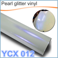 Dero high quality high glossy white&blue pearl glitter chameleon car wrapping vinyl