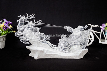 acrylic LED excited reindeer pull a cart with Santa for deer pull a cart with Santa Claus Christmas decor