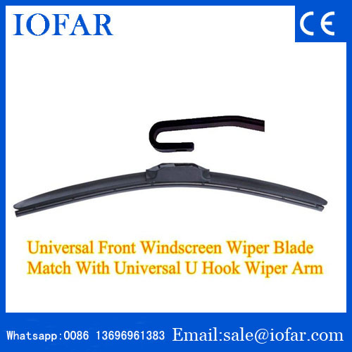 China wiper blade factory no bone u hook window wipers for car
