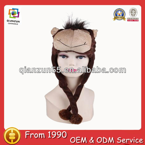 Animal fur hat with paws new novelty moose design ears long fur funny adult winter animal hats