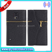 luxury flip leather wallet cell phone case for Samsung Galaxy S5 i9600 zipper case factory sale