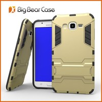 Rugged rubber armor kickstand combo case mobile phone cover for Samsung Galaxy J7 J700