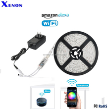 Jinvoo WiFi RGB LED Strip Light Controller ,Complete Set,Work with Alexa ,Smart phone Remote Control,DC12V5A