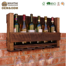 Rustic 6 Bottle Wine Rack with 4 Glass Holder.