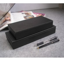 Rectangular Black Leather Pen Pencil Case Box With 4 Compartments