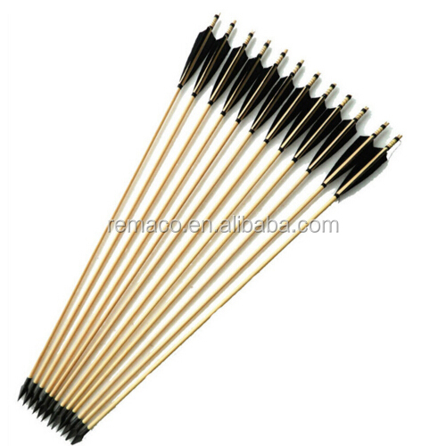 Wooden Arrows Fit for Longbow Compound Bow Archery Arrows Iron Arrowhead Black Turkey Feathers Arrow AR3004