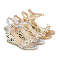 New arrival Glittering Fashion Fretwork Heels Wedges sandals Rhinestone Silver Gold Summer sandals for party Sexy