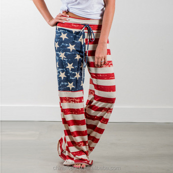 Casual Women's USA American Flag Floral Print Drawstring High Waist Loose Fit  Wide Leg Yoga Palazzo Pants