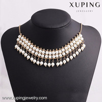 42667- Xuping Beaded White Pearl Jewelry Tassel Necklace Design