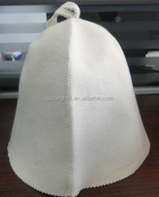 Russian sauna hat with white colors 100% wool