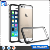 Factory price TPU bumper transparent acrylic combo case back cover for iphone 5 5s se