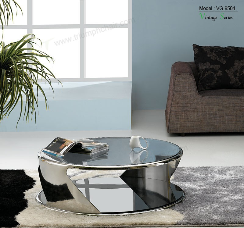 Triumph SS201 polished stainless steel lady coffee table / tea/coffee table for living room