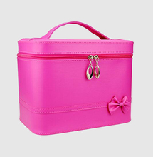 Popular lady mirror travel organizer makeup bag pu cosmetic bag with handles