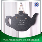 Factory Direct Price Handmade Hanging 45*30*0.5cm Teapot Shape Black Slate Craft (Customized Laser Design)