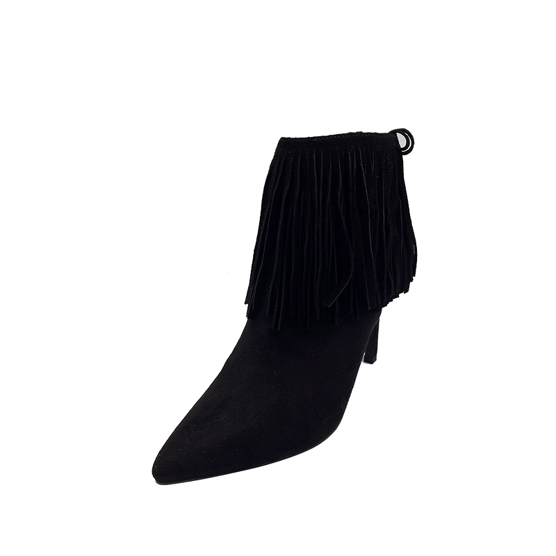 Citi Trends Boots Popular Style Black PU Shoe Uppertassel Ankle Boot Women