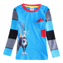 Wholesale children t-shirt kids long sleeve cartoon t shirt for boys 100% cotton Spring clothes