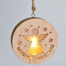 Craft supplies wooden round hanging ornaments MERRY CHRISTMAS holiday home decor living time led lights lighting