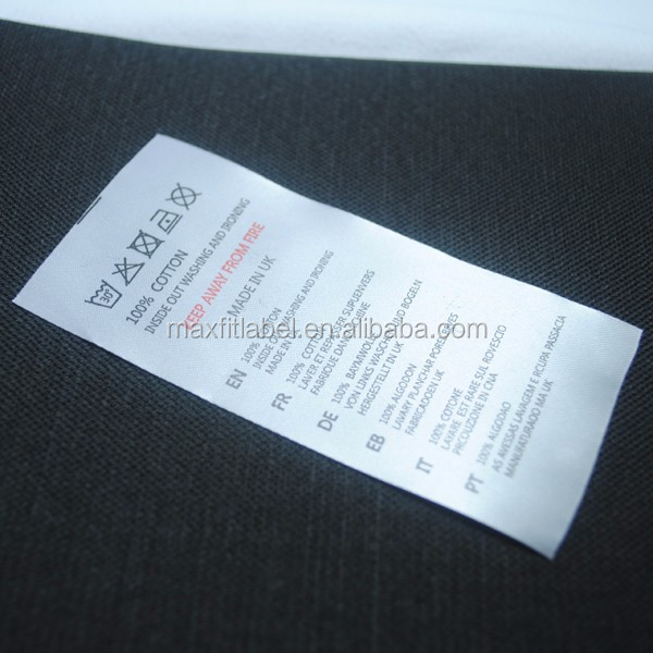 Custom satin printed label, neck label, care label