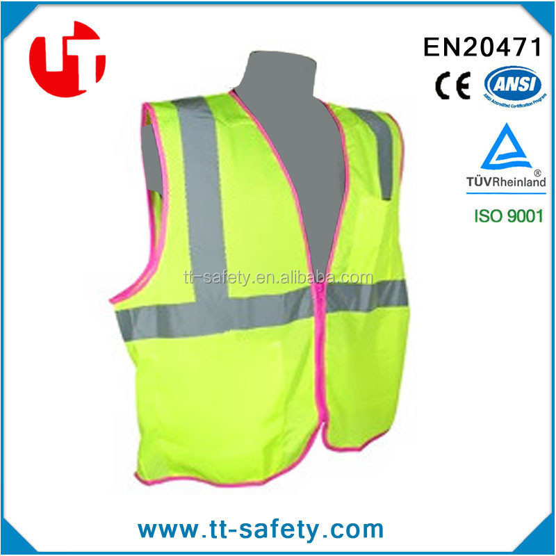 CE Class2 fashion high quality pink blue green reflective safety high visibility vest womens