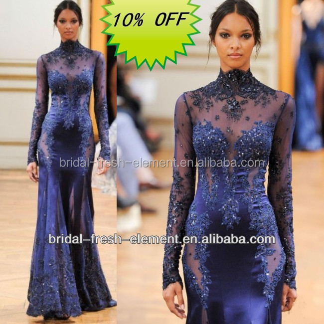 Hot Sale Factory Custom Made Long Good Quality Tulle Beaded Lace Appliqued Long Sleeve Turkish Evening Dresses From Dubai