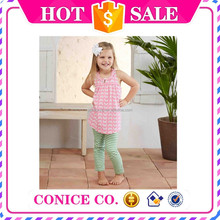 2015 hottest sale 2 piece baby girl cotton braces skirt and stripe pants clothing set for cheap sale