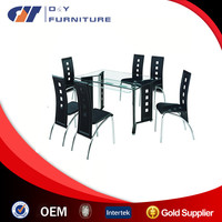 glass and metal dinning room furniture set