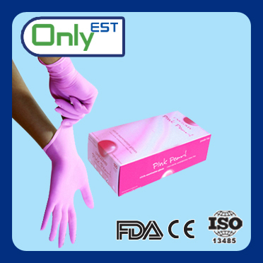 Hot sale powder free 3.5mil disposable tattoo pink nitrile gloves