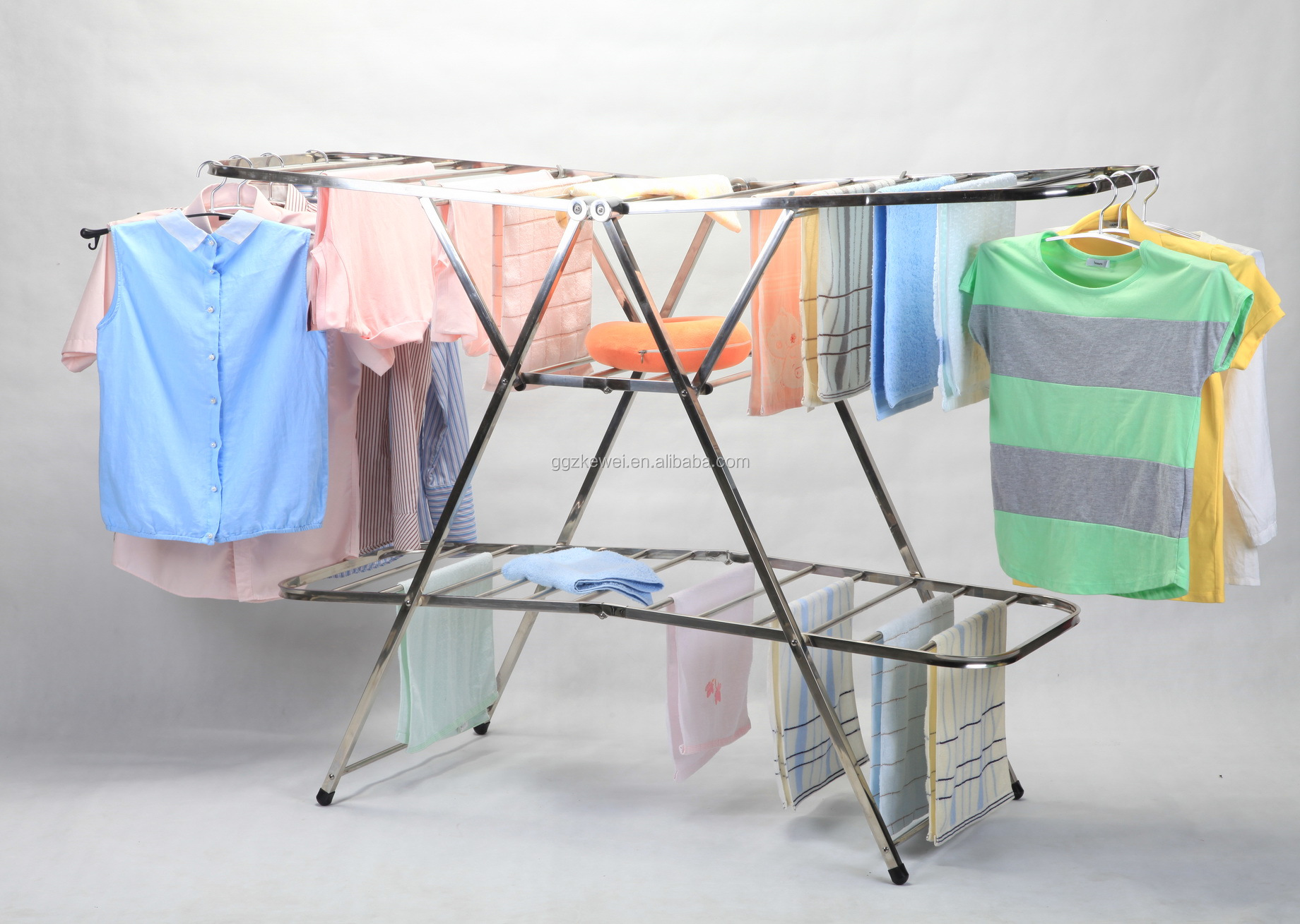 3 Layers Stainless Steel   Folding Clothes Drying Racks, Multifuctional Cloth Dryer Rack Hanger Rack HL-7019C