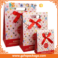 Fashion ribbon decorative paper Chrismas gift candy bag with flexiloop handle