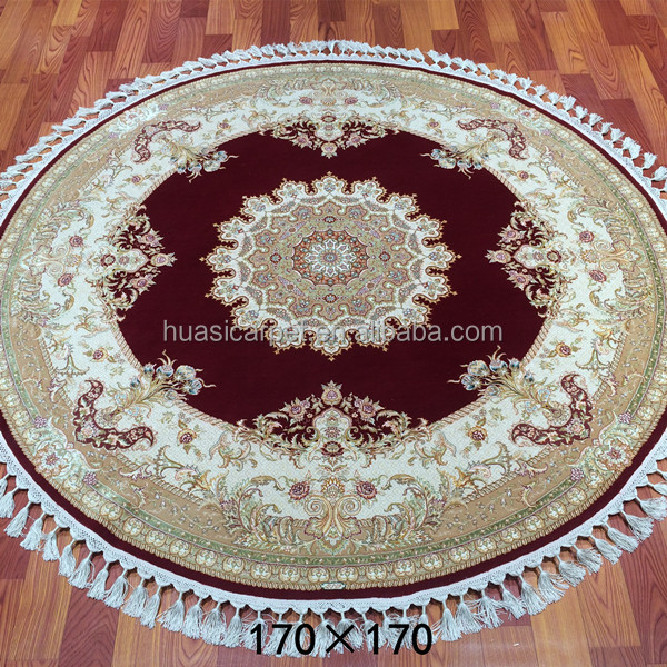 5.5 X5.5 Red Round Agra Persian Oriental Area wool silk Rug Hand Knotted Wool rug